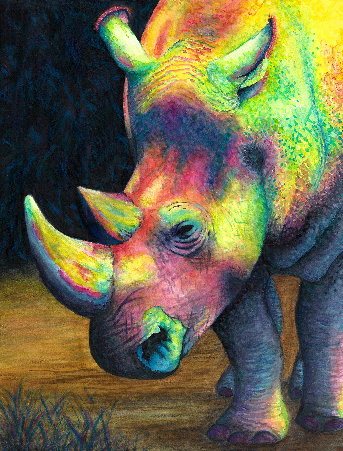 rhino color me unique painting