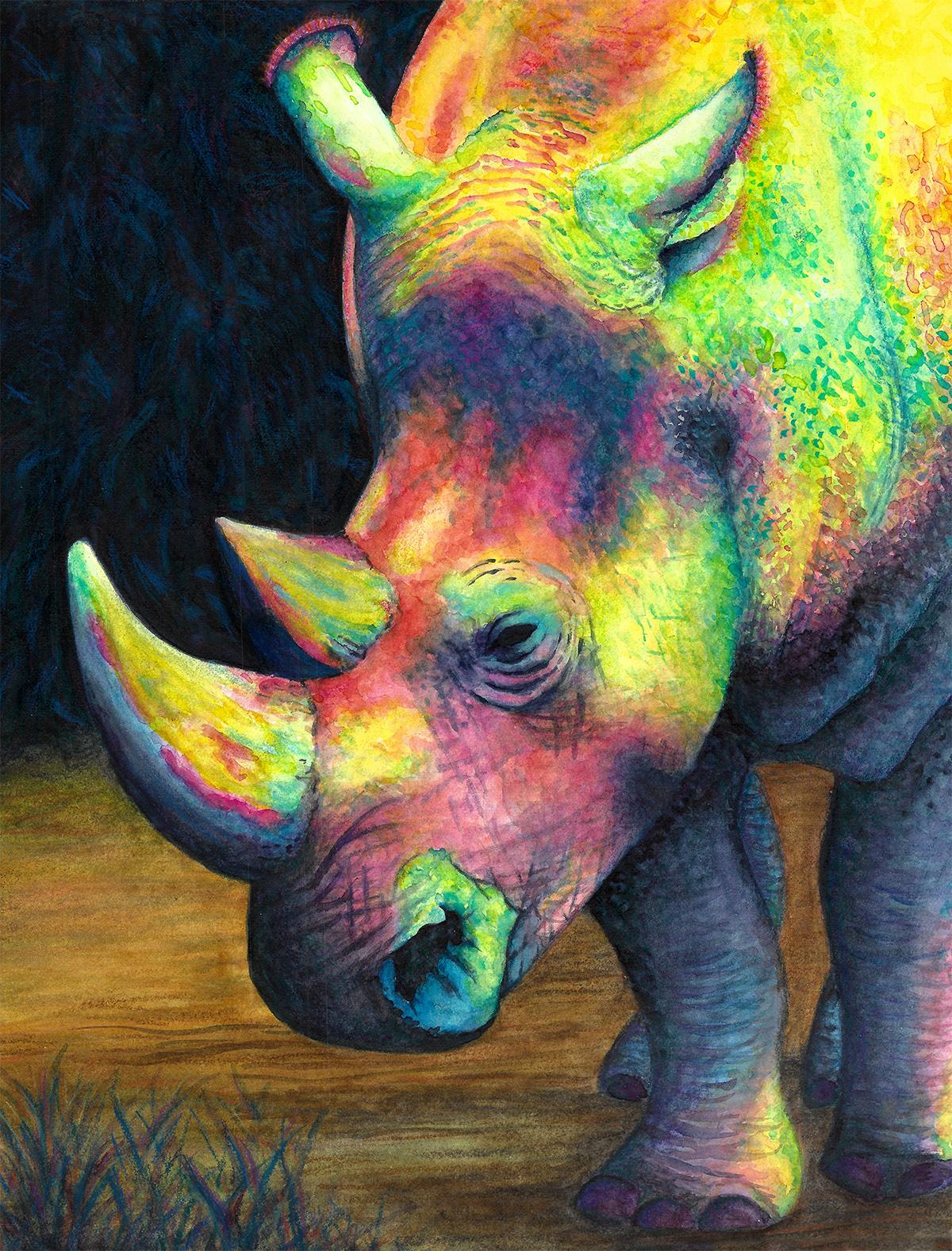 Rhinoceros watercolor painting