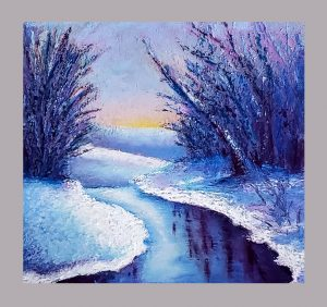 Winter pastel painting