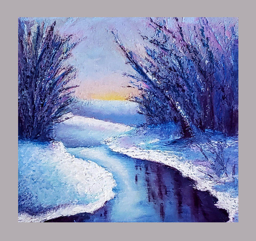 Winter pastel painting