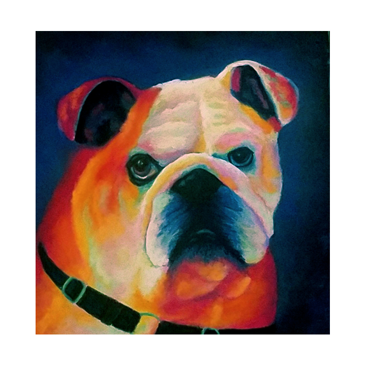 english bulldog pastel painting